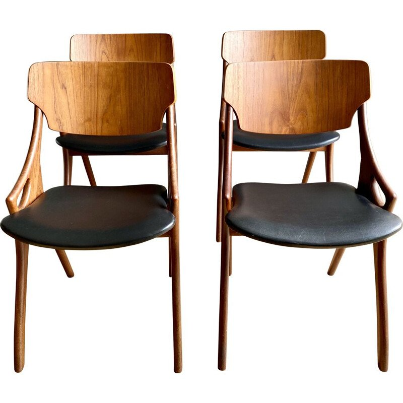 Set of 4 vintage Dining Room Chairs, for Mogens Kold,Arne Hovmand Olsen 1950s