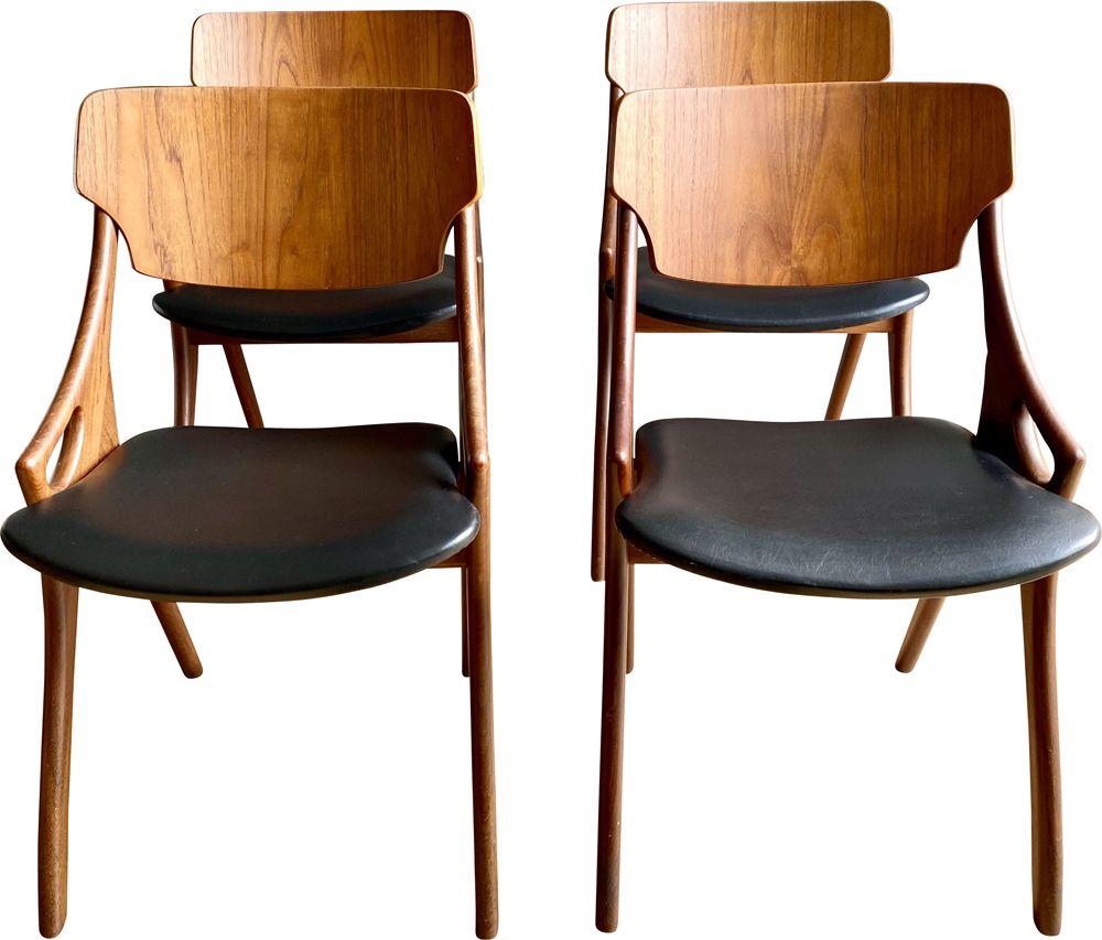 Office Cabin Interior Design, Set Of 4 Vintage Dining Room Chairs For Mogens Kold Arne Hovmand Olsen 1950s Design Market