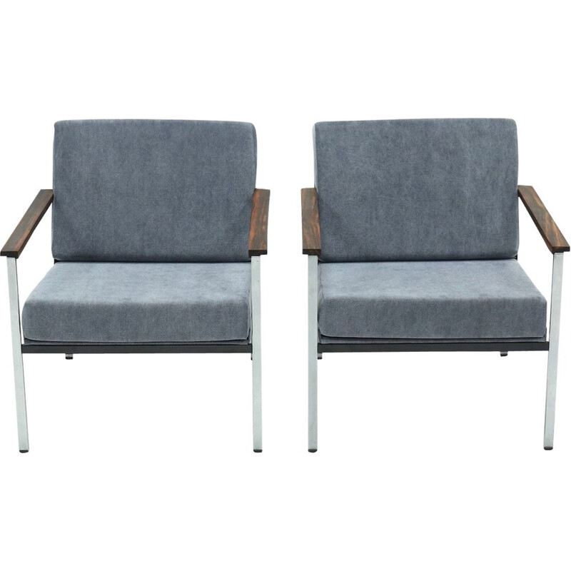 Pair of vintage Gispen 1453 Armchairs by Coen de Vries 1960s