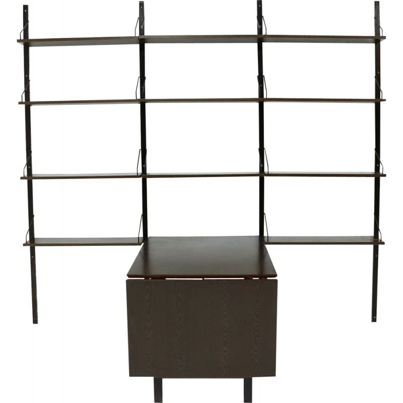 Vintage Royal System Wall Unit with Table Poul Cadovius Wenge 1960s