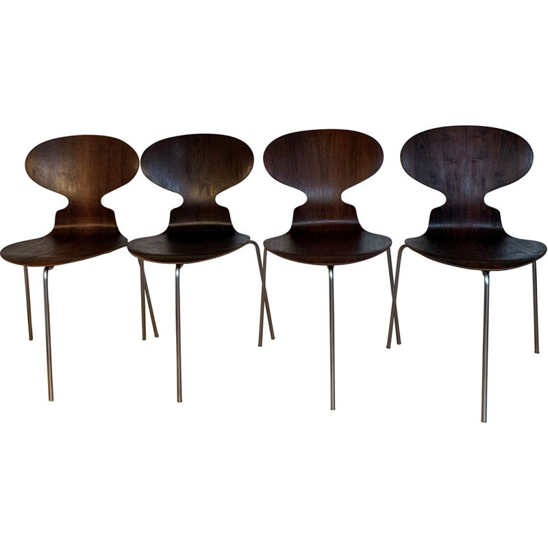 Set Of 4 Vintage Roosewood Ant Chairs By Arne Jacobsen For Fitz Hansen