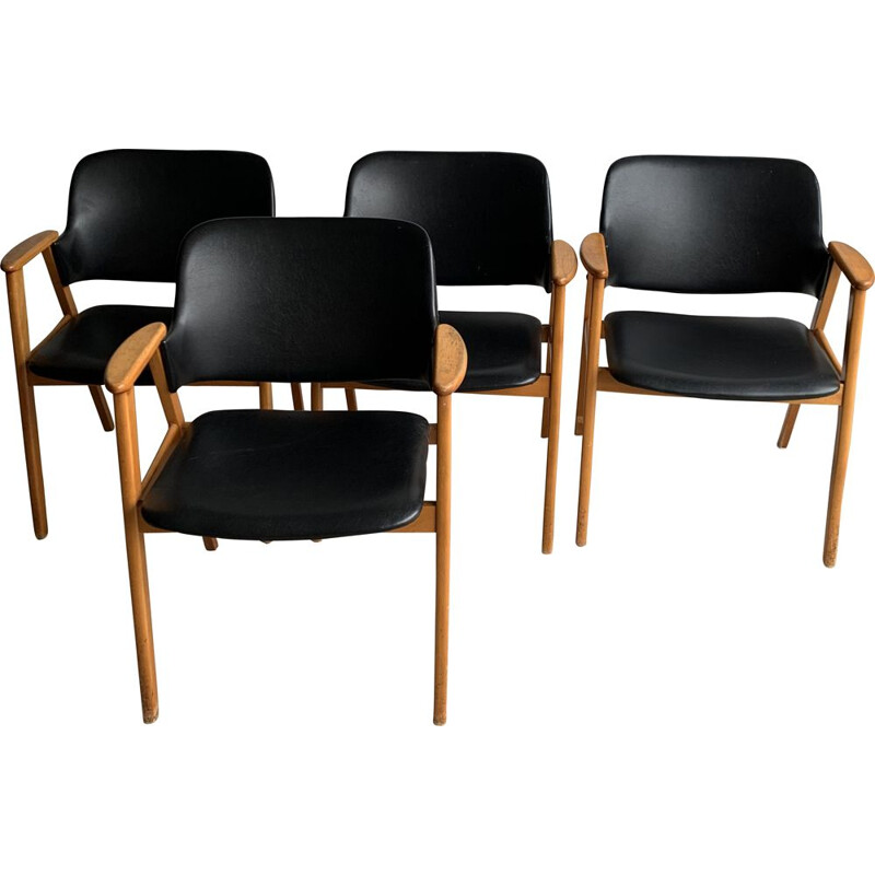Set Of 4 vintage Dining Chairs By Cees Braakman For Pastoe, 1950s