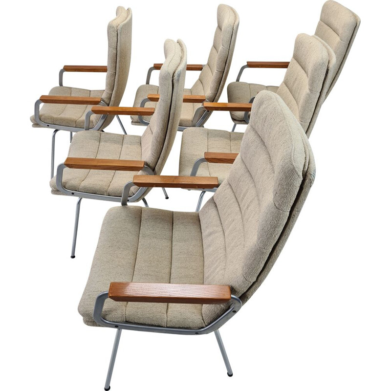 Set of 6 Vintage Armchairs with high backrests by Geoffrey Harcourt for Artifort, 1960s