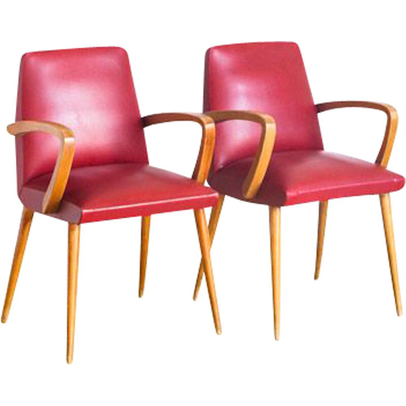 Pair of vintage bridge chairs Skaï and beech wood France, 1960
