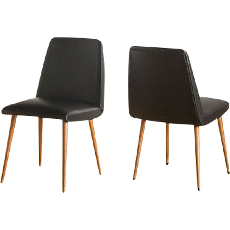 Pair of vintage chairs in wood and imitation leather, France 1950