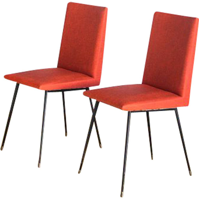 Pair of vintage iron and vinyl chairs France, 1950