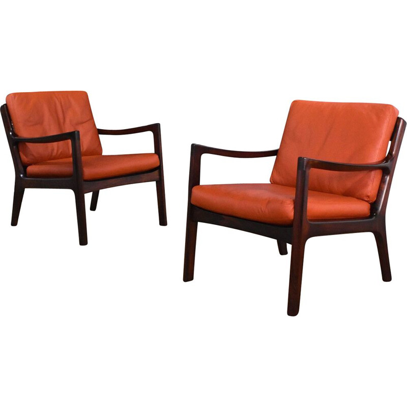 Pair Of vintage Ole Wanscher Rosewood & Leather Senator Chairs For France & Son