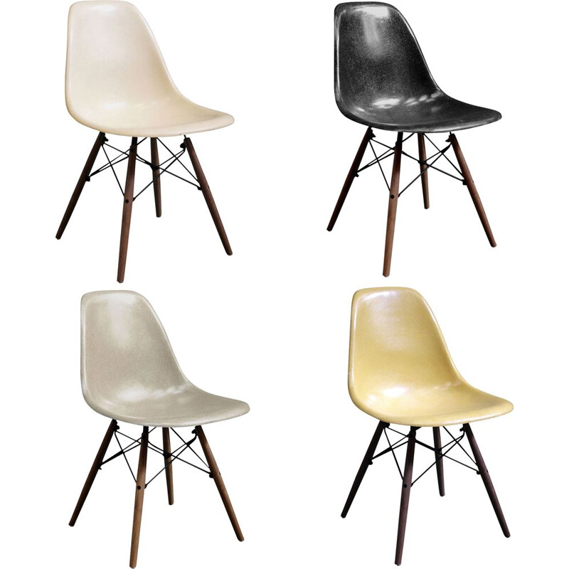 Set of vintage 4 DSW chairs by Charles & Ray Eames Herman Miller 1970s