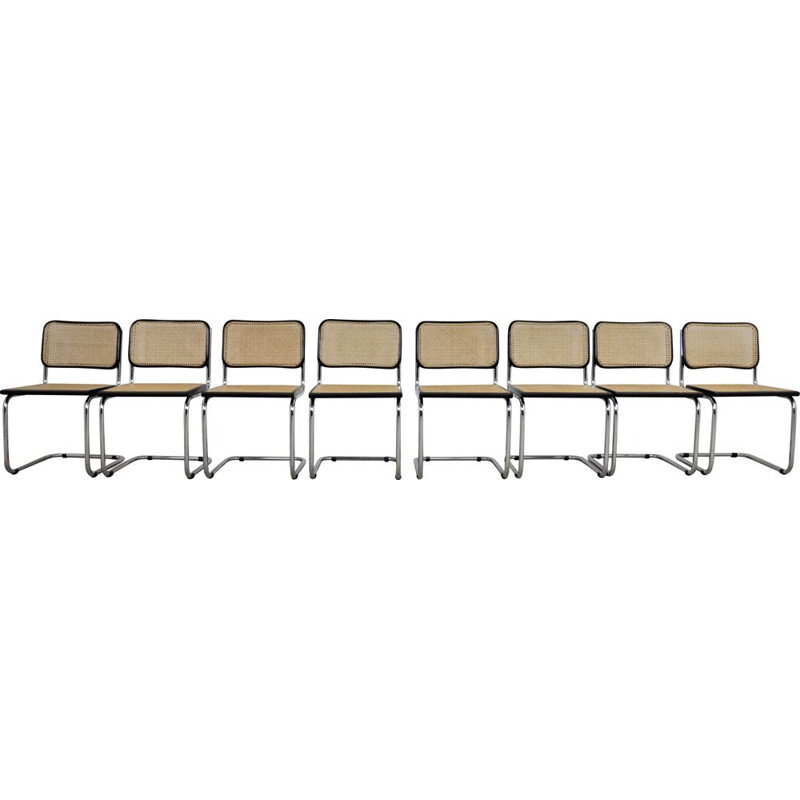 Set of 8 vintage Black Dinning Chairs By Marcel Breuer
