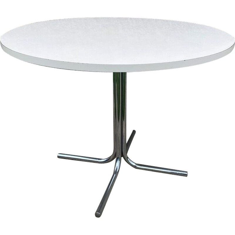 Vintage dining table kitchen or dining room round chrome legs