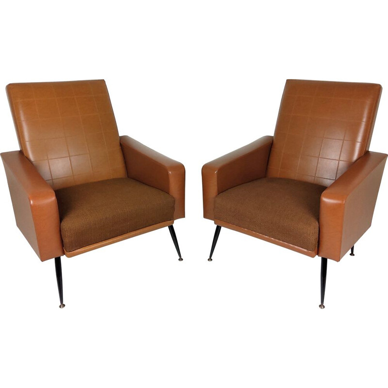 Pair of Vintage leatherette armchairs 1960s
