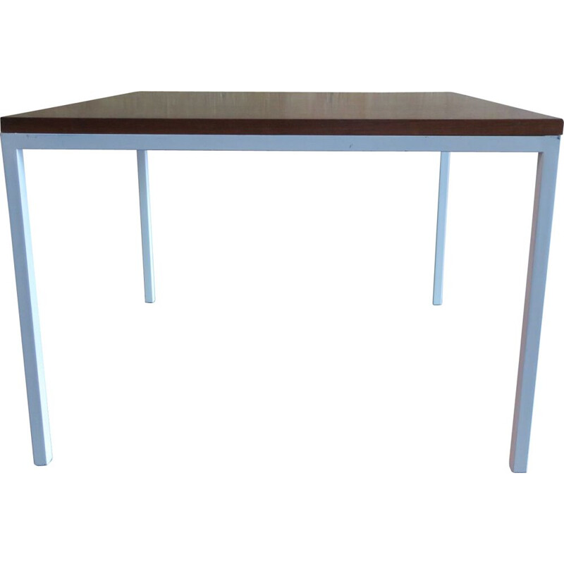 Mid-Century Rosewood Coffee Table with White Lacquered Metal Legs 1960s
