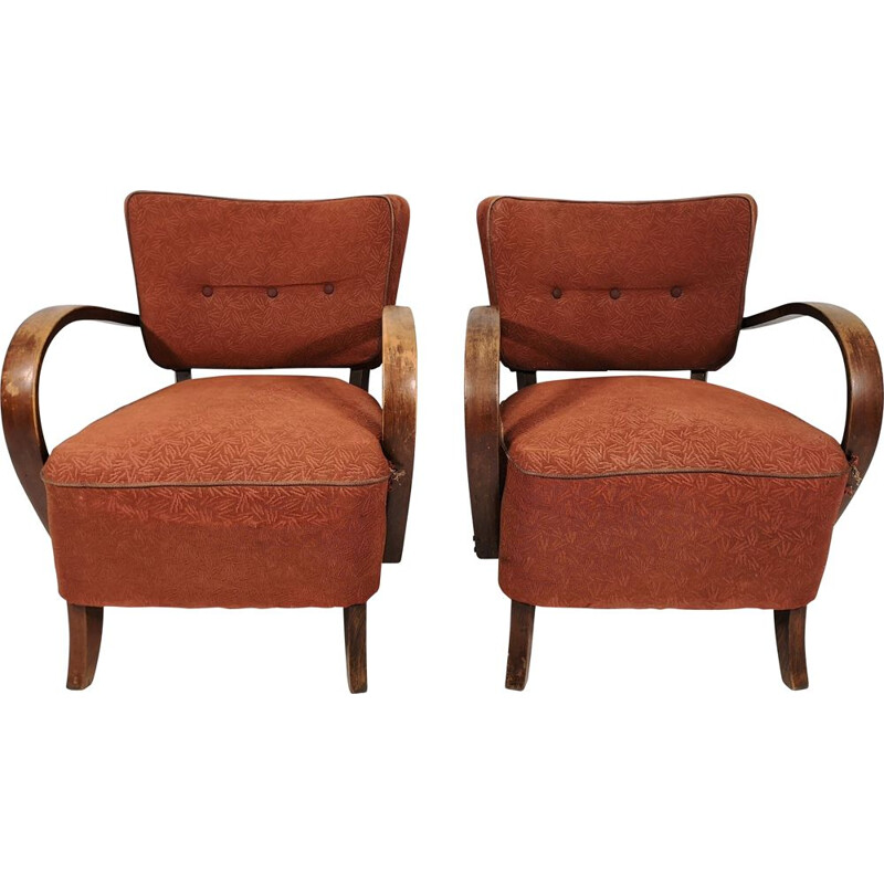 Pair of vintage armchairs by Jindřich Halabala H-237, 1950