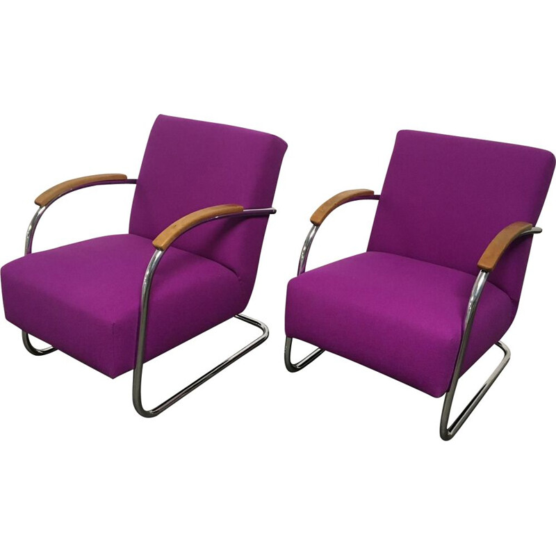Pair of vintage tubular chairs Mucke Melder