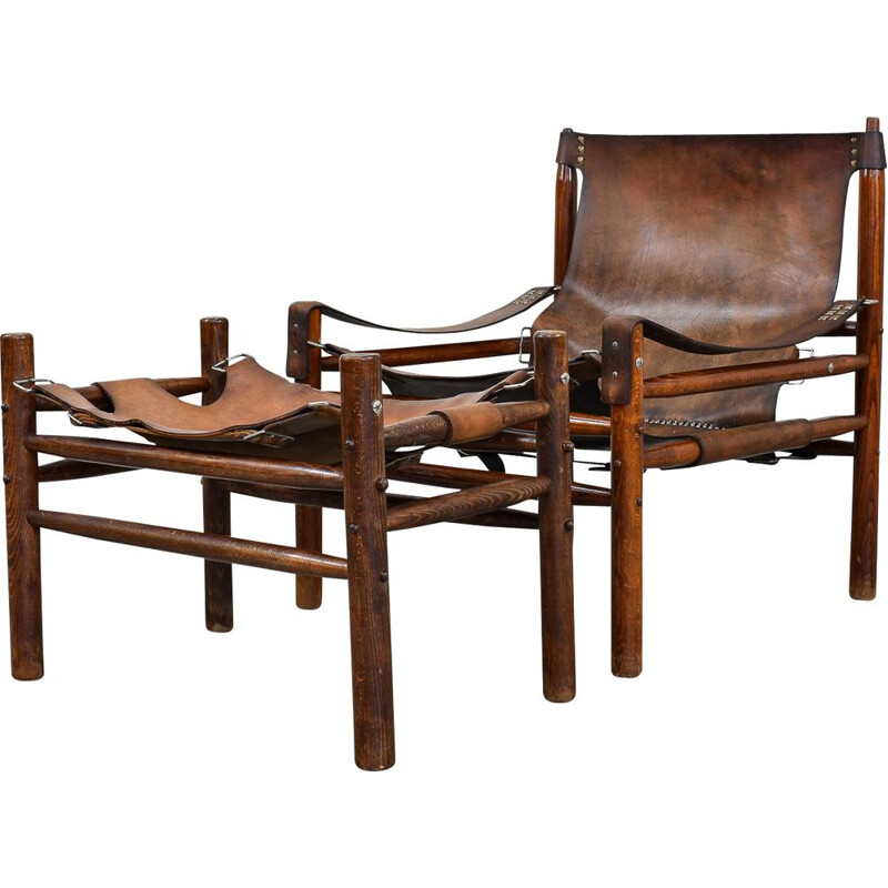 Vintage Lounge Chair with Ottoman Leather Safari