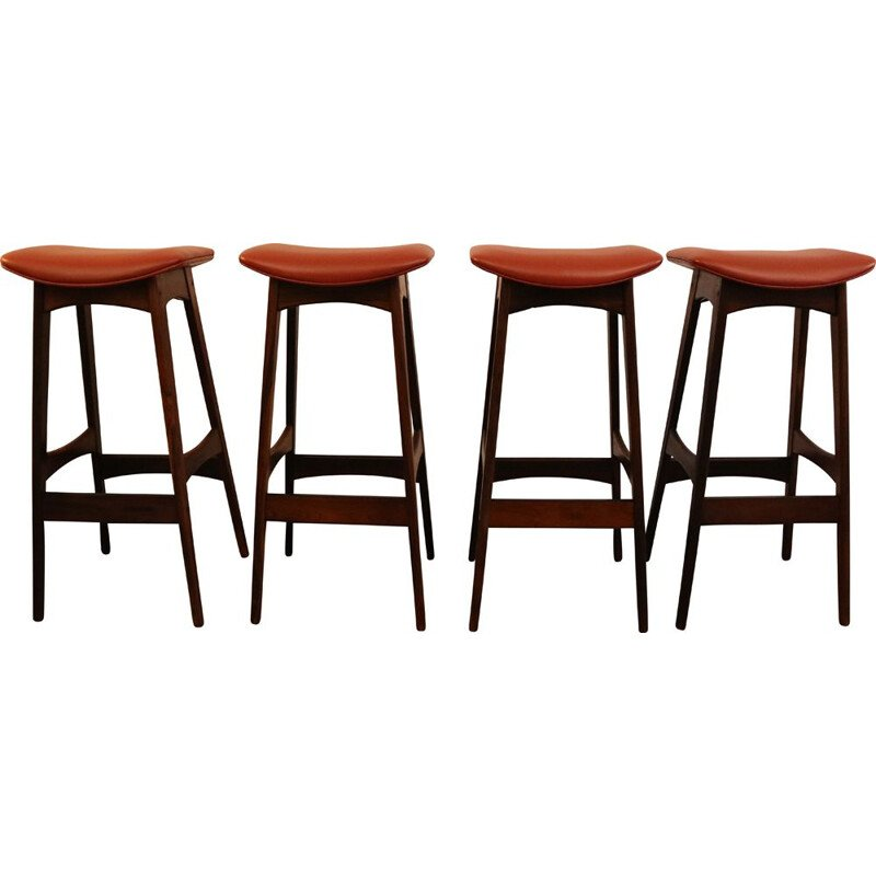 Set of 4 vintage bar stools in brazilian rosewood by Johannes Andersen Denmark 1960s