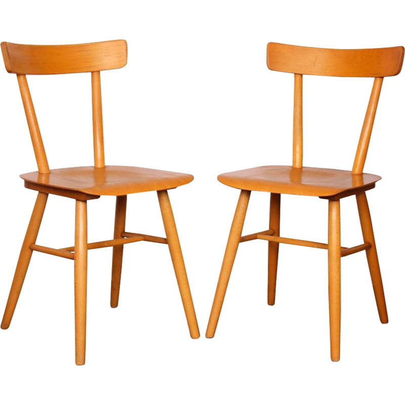 Pair of vintage wooden chairs by Ton, 1960