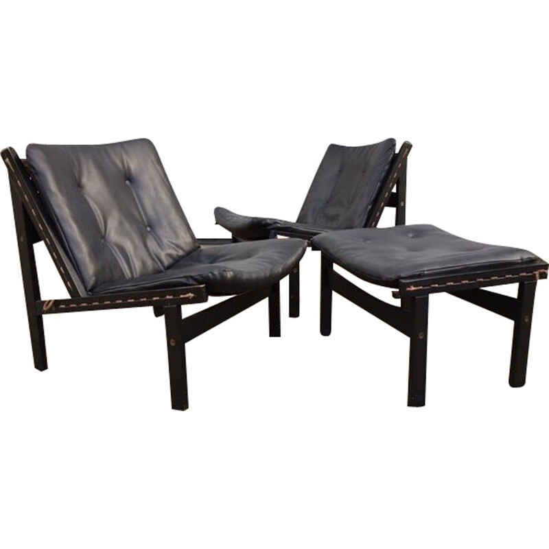 "Pair of 'Hunter""' chairs and footstool by Torbjorn afdal for bruskbo"