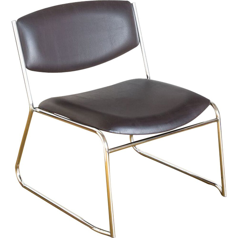 Vintage low chair in leatherette and chromed iron France 1980