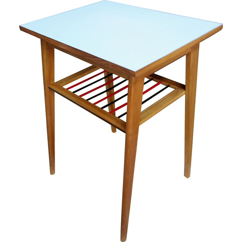Vintage baby blue console tabel with a magazine rack  1960s