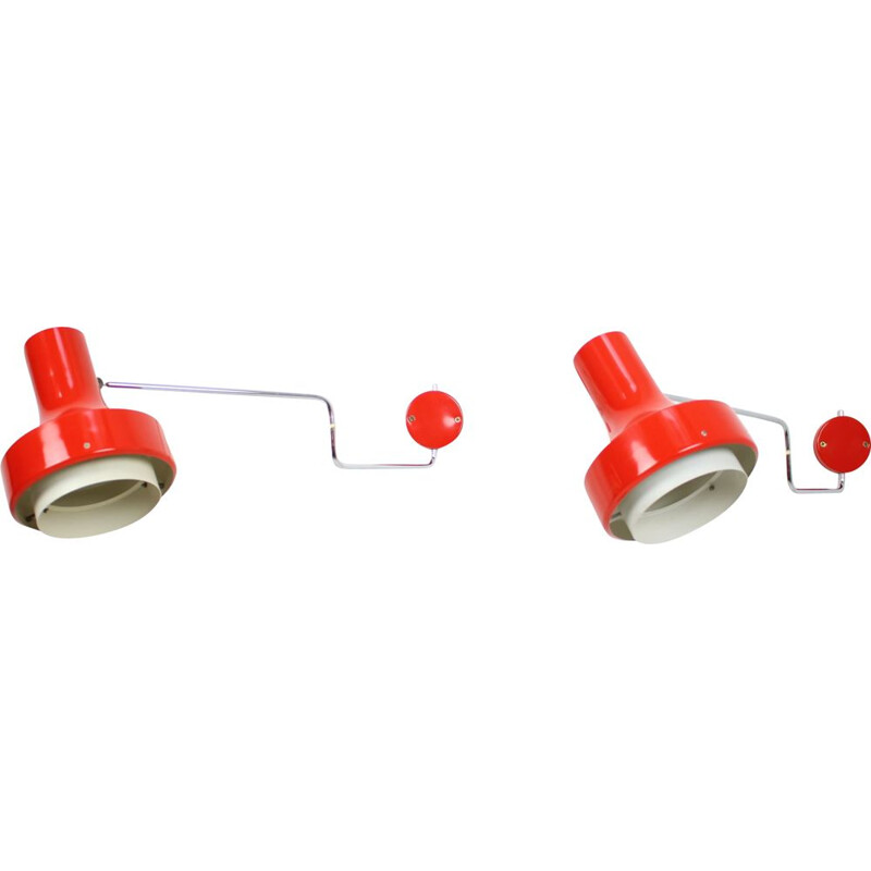 Pair of vintage adjustable wall lamp designed by Josef Hůrka for Napako, 1970s