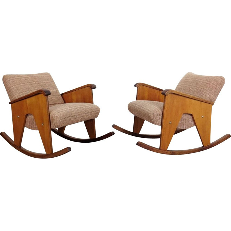 Pair of vintage rocking chair, Czechoslovakia 1960