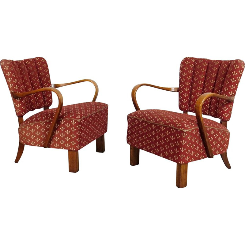 Pair of vintage armchairs by Jindrich Halabala 1950