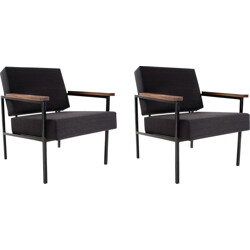 Pair of mid century armchairs in wood and metal, Martin VISSER - 1950s