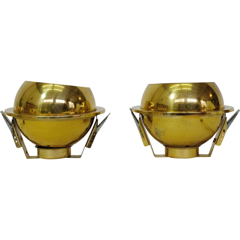 Pair of vintage gold recessed spotlights by Guzzini