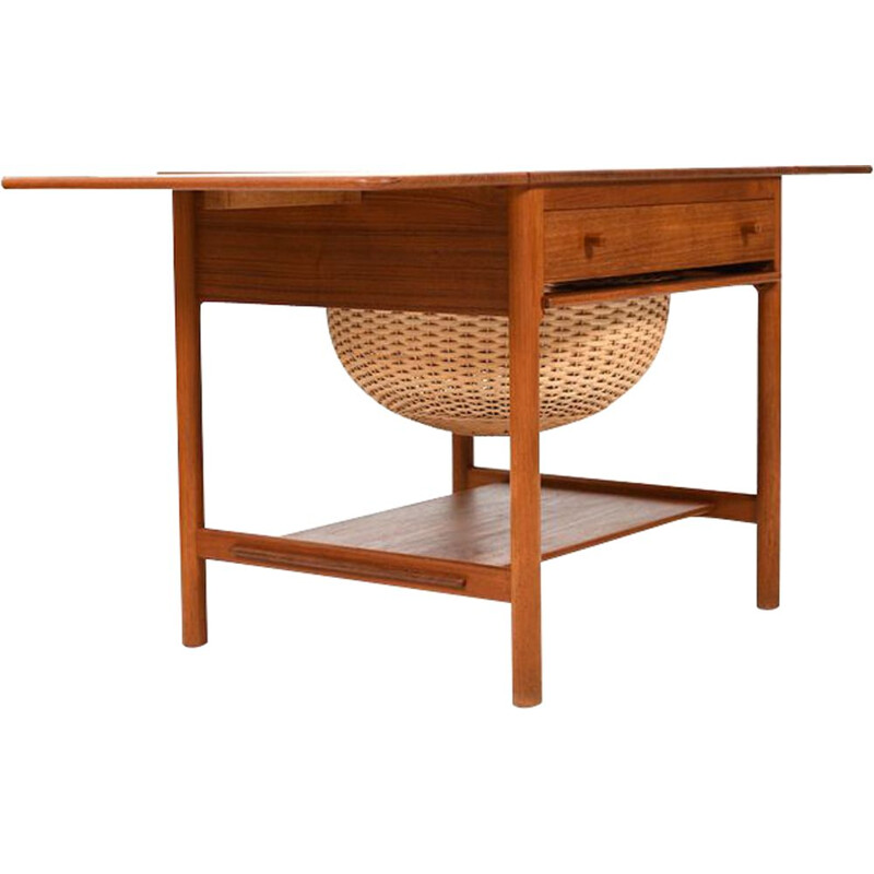 Mid Century Teak Sewing Table PP33 by Hans J. Wegner