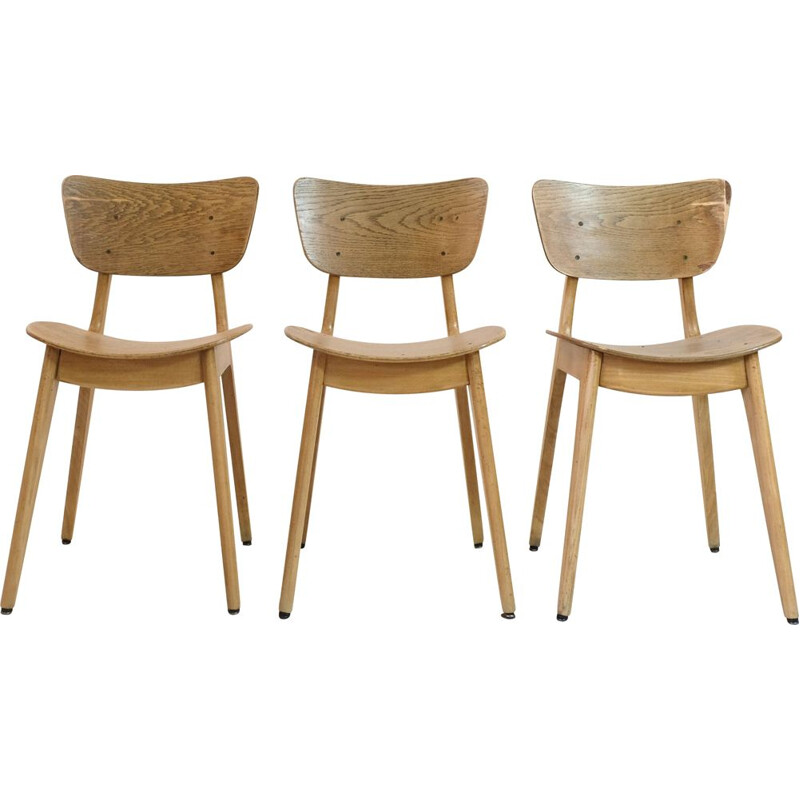 Trio of vintage 6157 chairs by Roger Landault, 1950