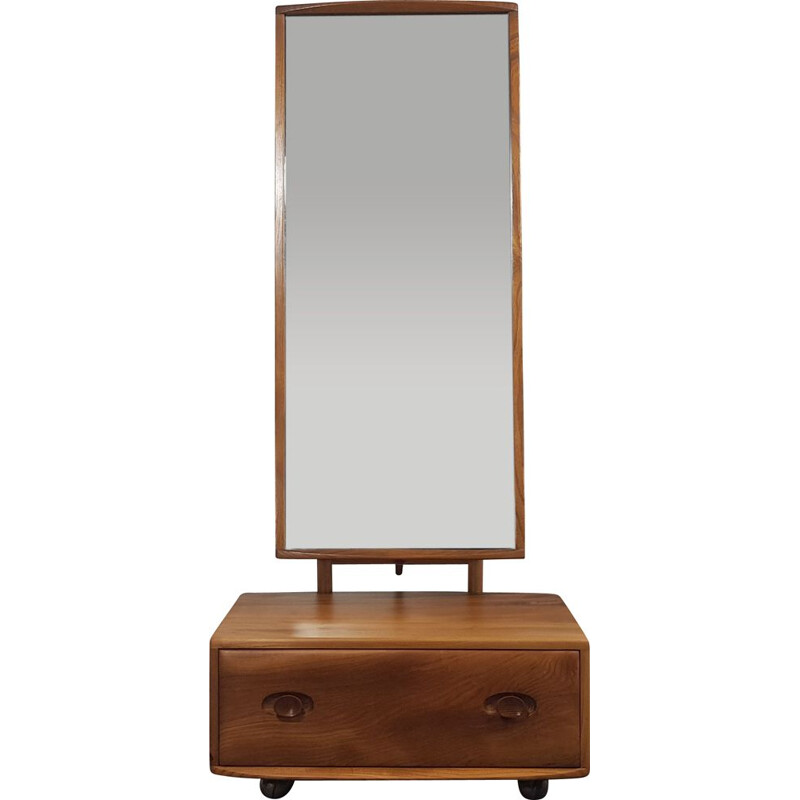 Vintage Mirror with Drawer Ercol Cheval 1960s