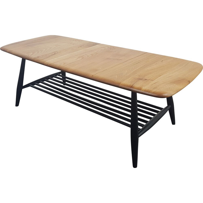 Vintage Ercol Coffee Table with Black Legs, 1970s