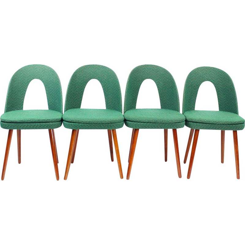 Set Of 4 vintage Iconic Tatra Chairs In Green Fabric, Antonin Suman, Czechoslovakia 1960s