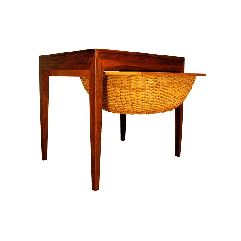 Haslev Mobelfabrik side table in Rio rosewood and wicker, Severin HANSEN - 1960s