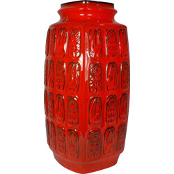 Mid-century red Bay Keramik vase with relief pattern - 1960s