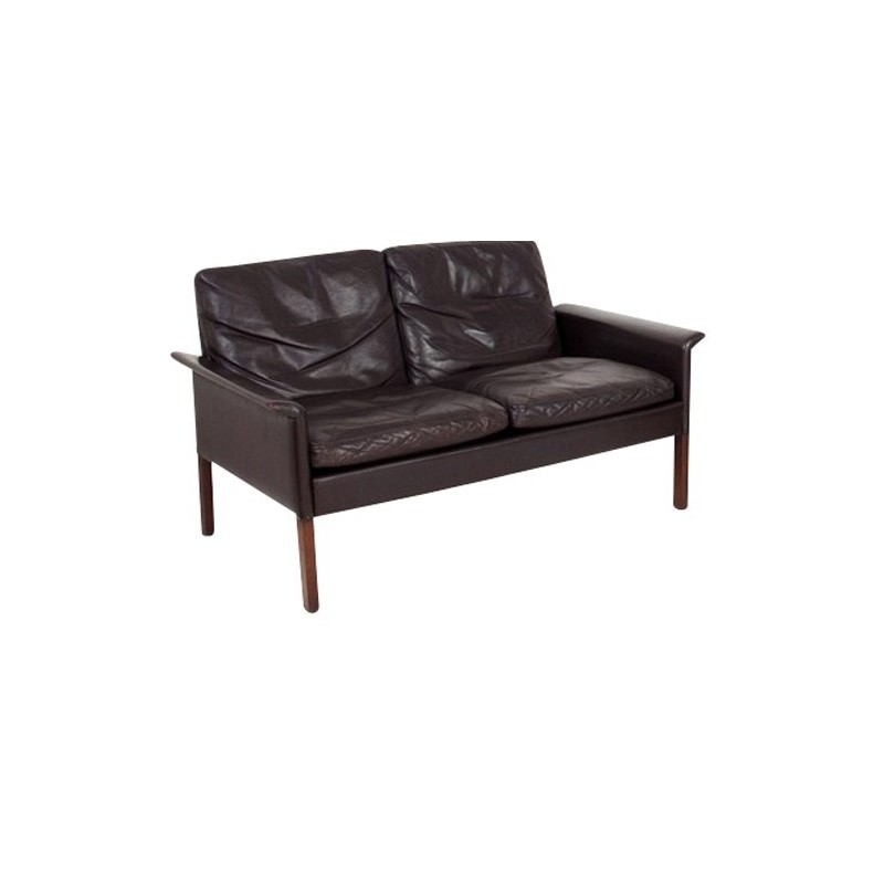 2 seater sofa in rosewood and leather, Hans OLSEN - 1969