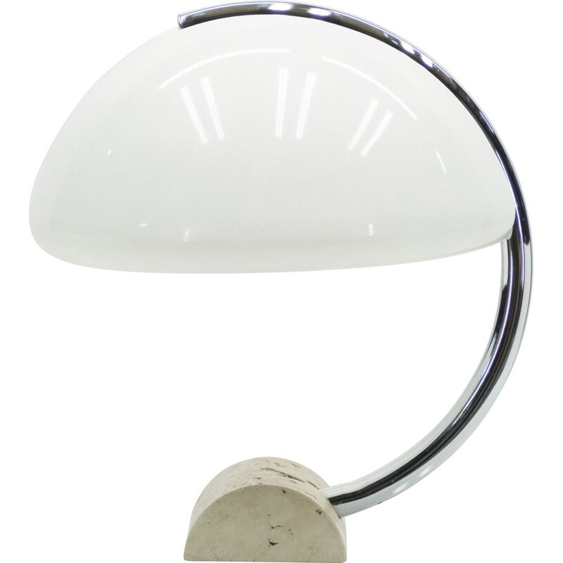 Vintage chrome travertine lamp by Elio Martinelli, Italy 1960