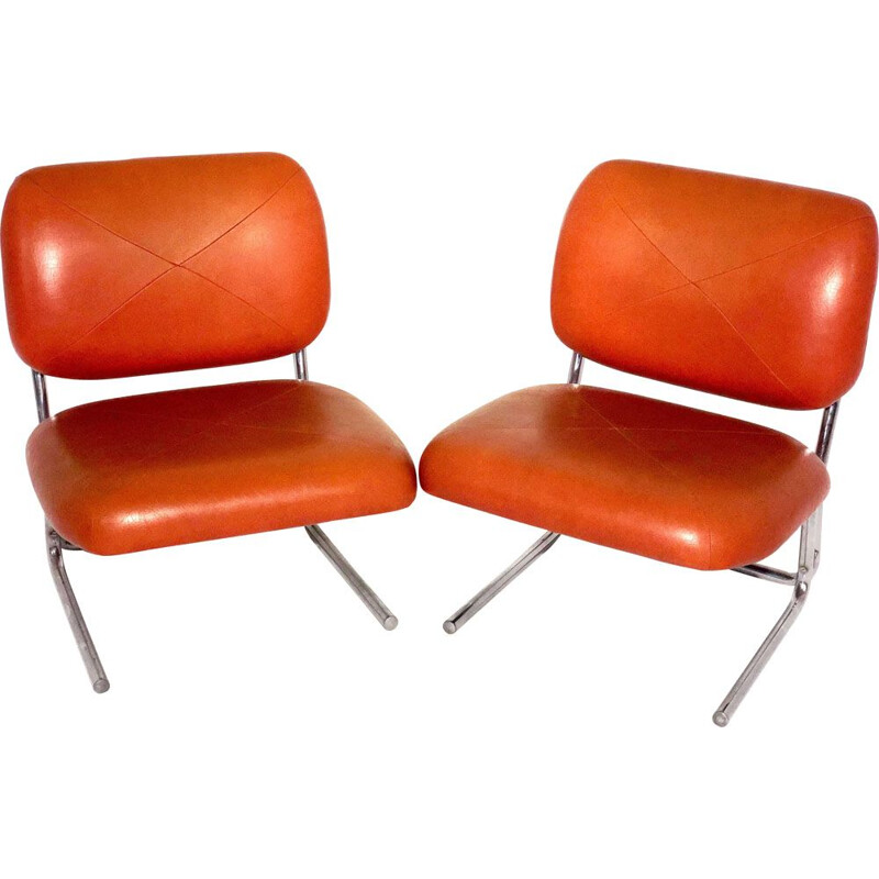 Pair of vintage leather and chrome armchairs