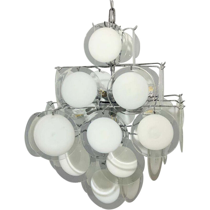 Vintage Murano glass disc chandelier Gino Vistosi 1970