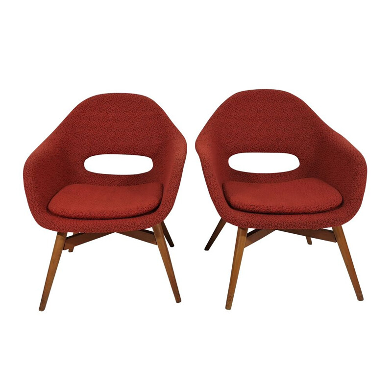 Pair of vintage Shell Armchairs by Miroslav Navratil, 1960s