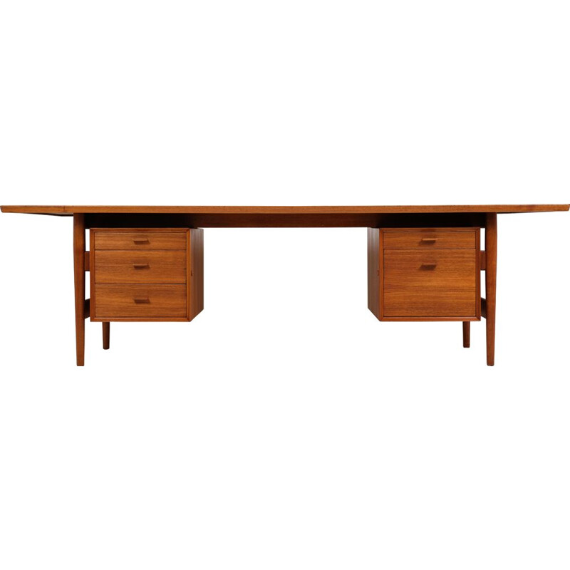 Large Vintage Teak Vintage Desk by Arne Vodder 1960