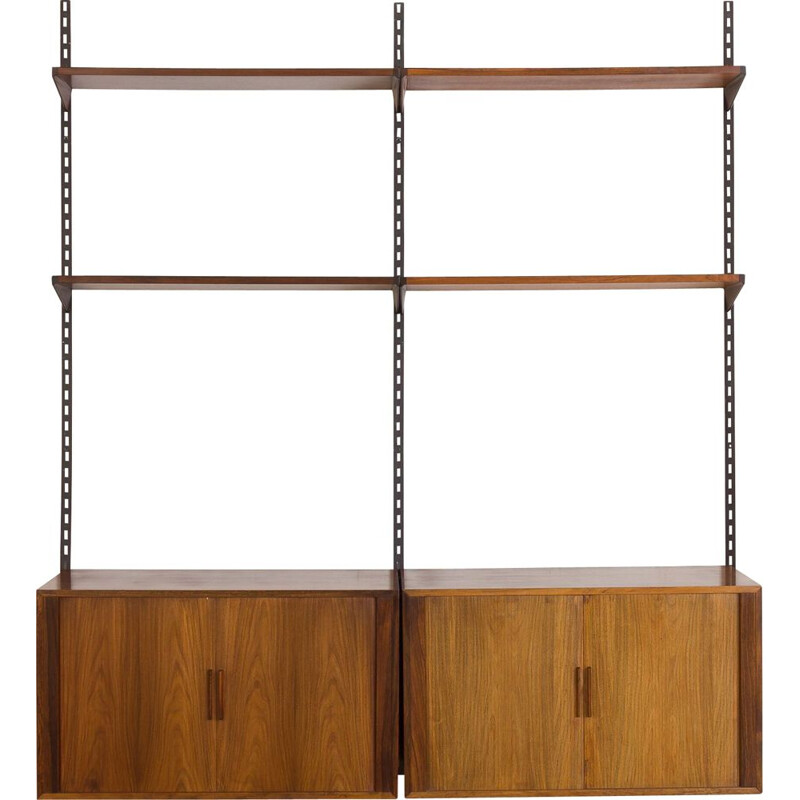 Vintage Rosewood FM wall unit by Kai Kristiansen with 2 cabinets with tambour doors, Denmark 1960s