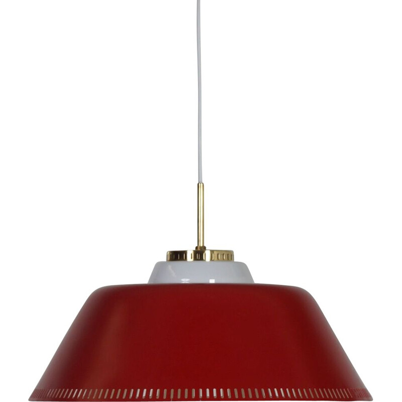 Vintage Red Hanging Lamp by Bent Karlby for Lyfa, Danish 1960s