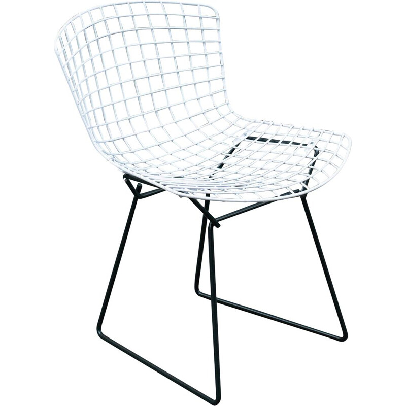 Vintage Wire Chair in black and white Harry Bertoia's  Knoll 1960