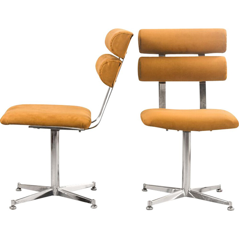 Pair of vintage Office Chairs in Chromed Steel & Alcantara, 1970s