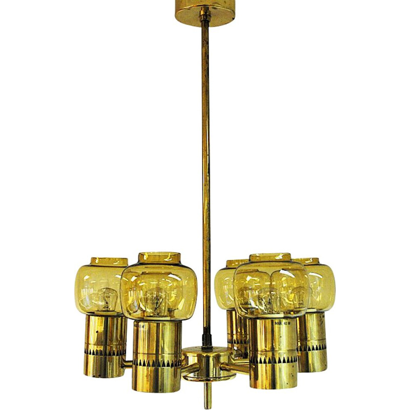 Vintage Brass and amberglass ceiling lamp by Hans-Agne Jacobsson 1950s