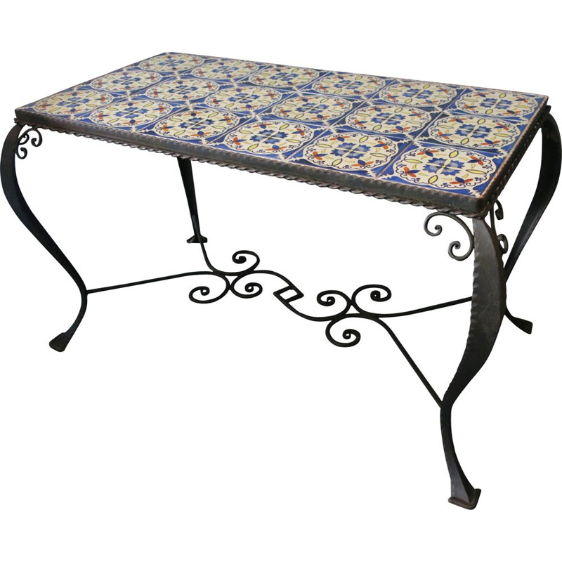 Mid Century Wrought Iron Tiled Coffee Table