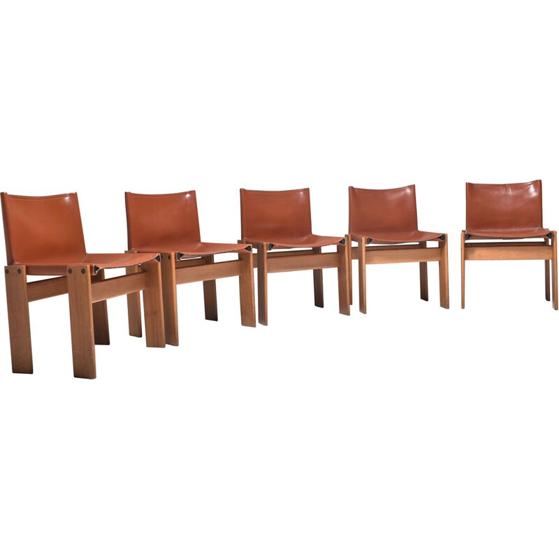 Set of 5 vintage Monk chairs by Afra and Tobia Scarpa 1970