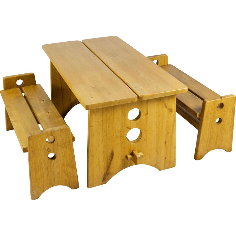 Set vintage benches and table Gilbert Marlund pine wooden 1960s